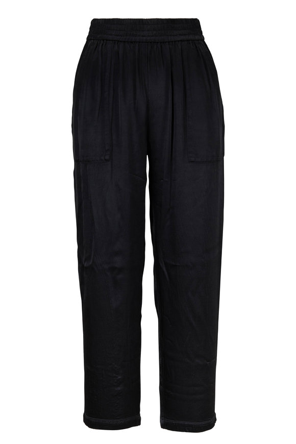 Raquel Allegra Trapunto Black Pull-On Pant