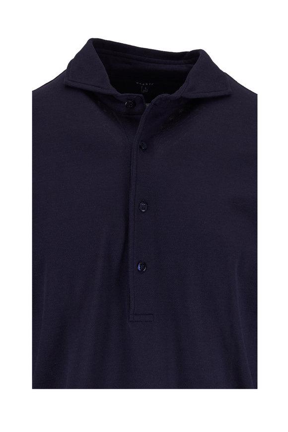 04651/ Navy Blue Pique Sport Shirt
