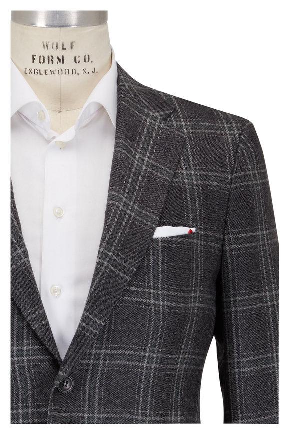 Kiton Gray Tonal Plaid Cashmere Sportcoat