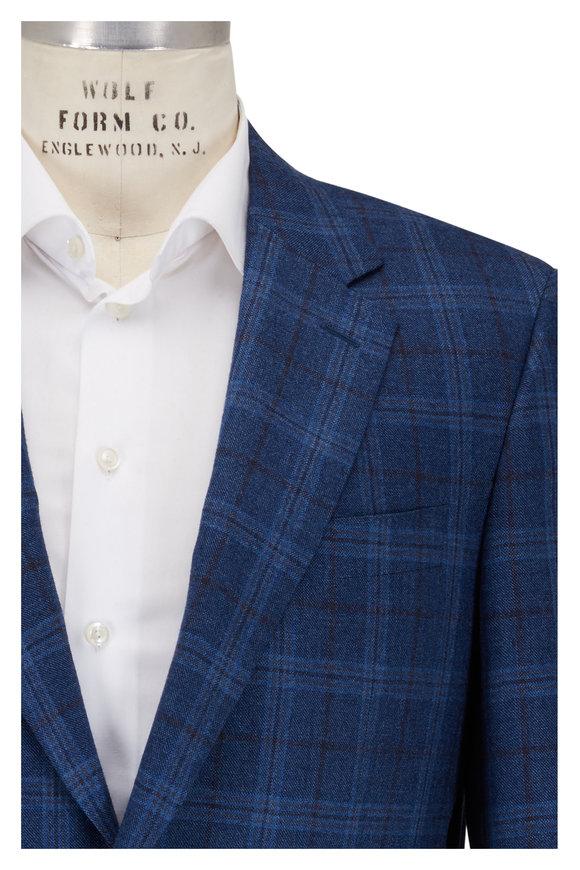 Canali Blue Plaid Double Button Sportcoat
