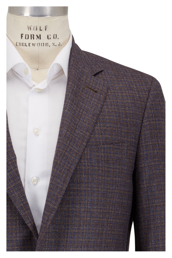 Canali Kei Tan & Blue Check Textured Sportcoat