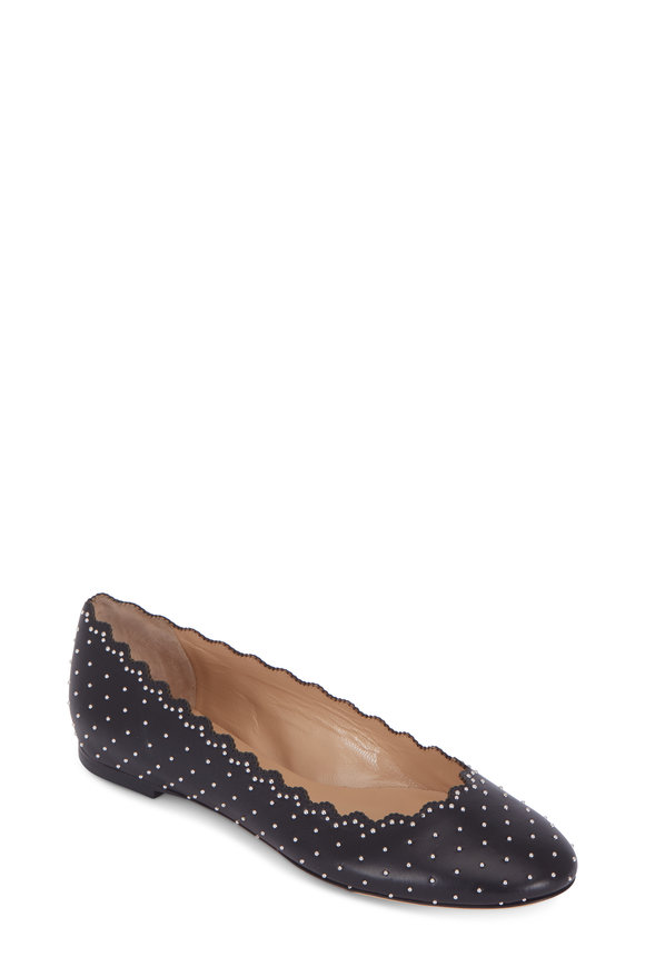 Chloé Lauren Black Silver Studded Leather Ballet Flat