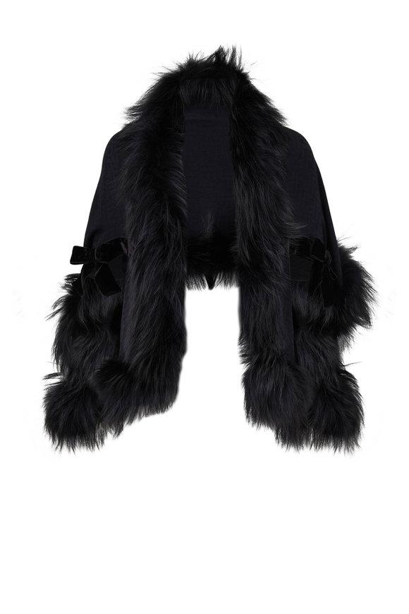 Fendi Black Wool, Cashmere & Fox Scarf