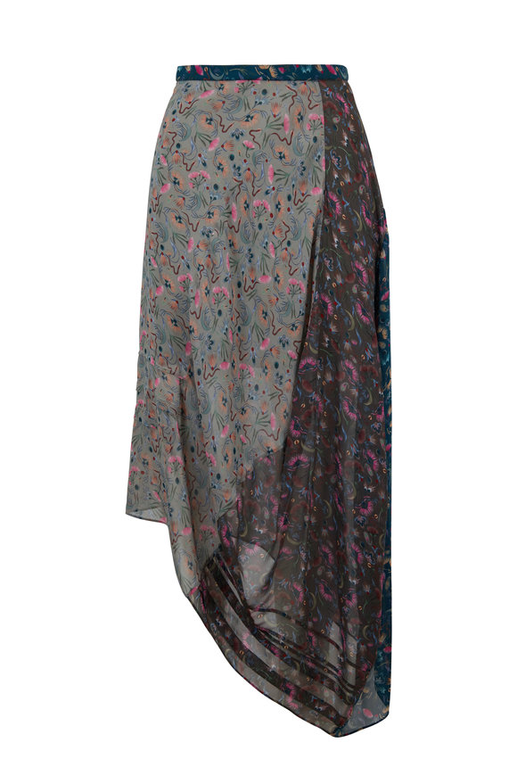 Chloé Multicolor Garden Print Georgette Skirt