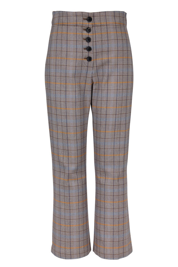 Veronica Beard Zap Brown Plaid Button Front Pant