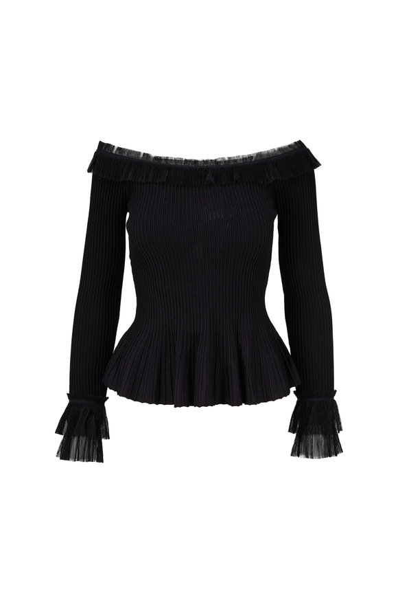 Jonathan Simkhai Black Pleated Tulle Off-The-Shoulder Top