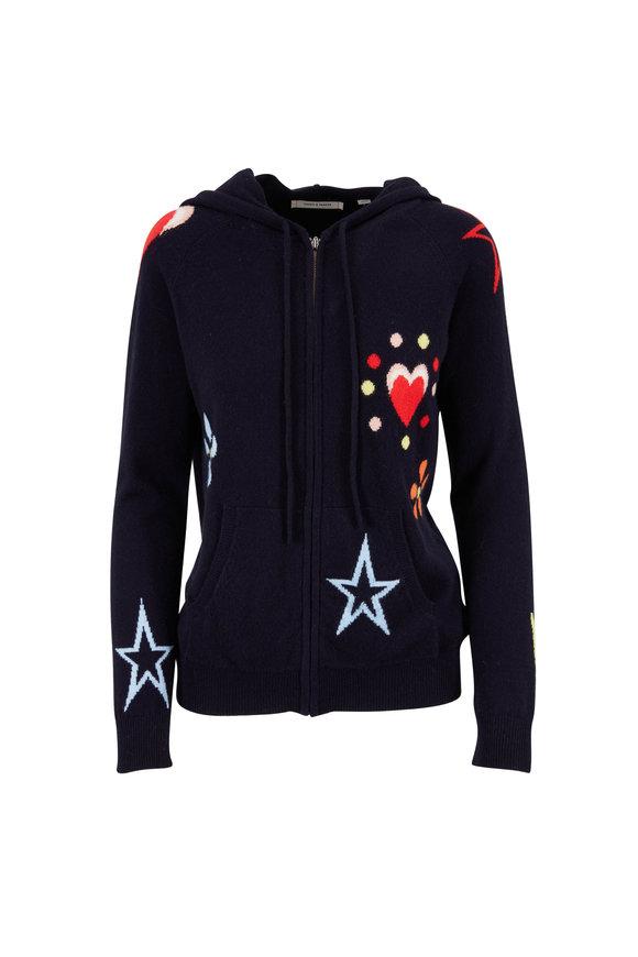 Chinti & Parker Navy Flower, Star, & Heart Printed Full Zip Hoodie