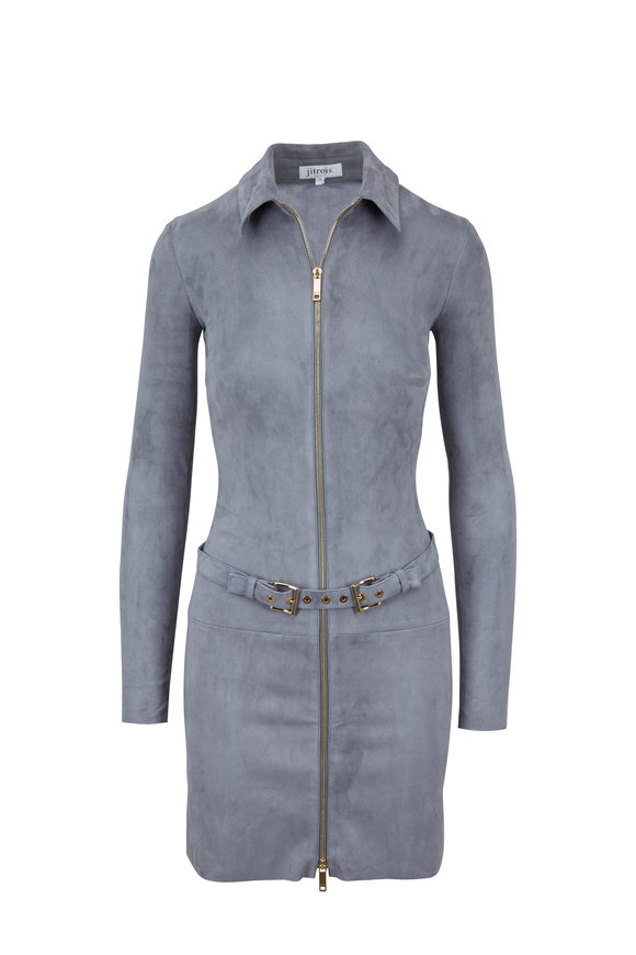 Jitrois Agatha Gray Suede Front Zip Belted Dress