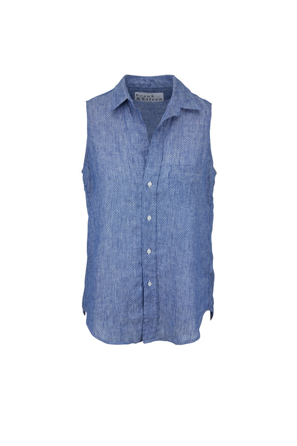Frank & Eileen Fiona Blue Dots Printed Sleeveless Button Down