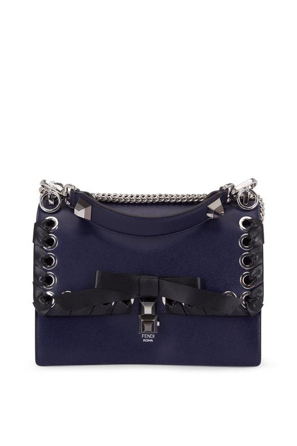 Fendi Kan I Blue Leather Lace-Up Bow Shoulder Bag