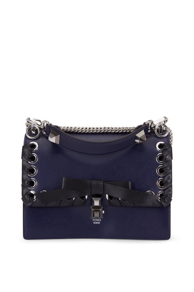 Fendi - Kan I Blue Leather Lace-Up Bow Shoulder Bag