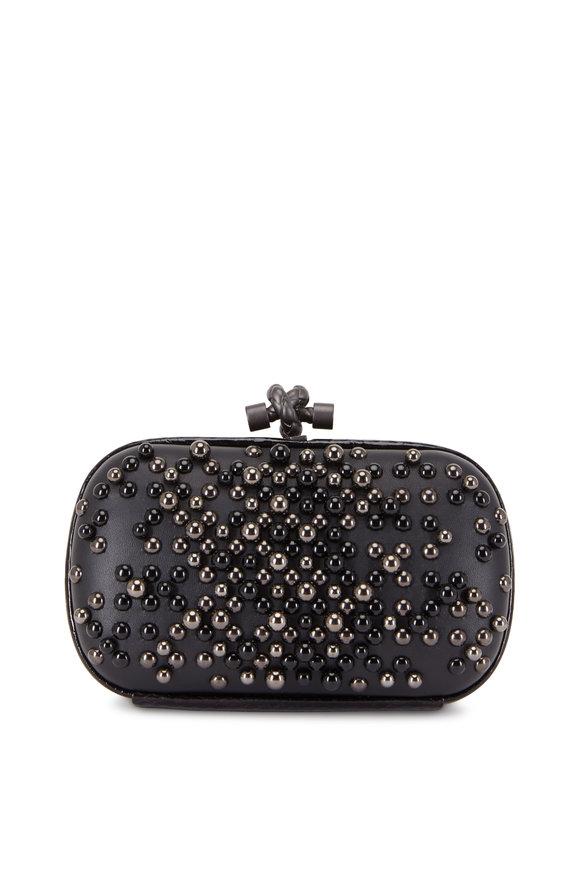 Bottega Veneta Black Leather & Ayers Spheres Small Knot Clutch