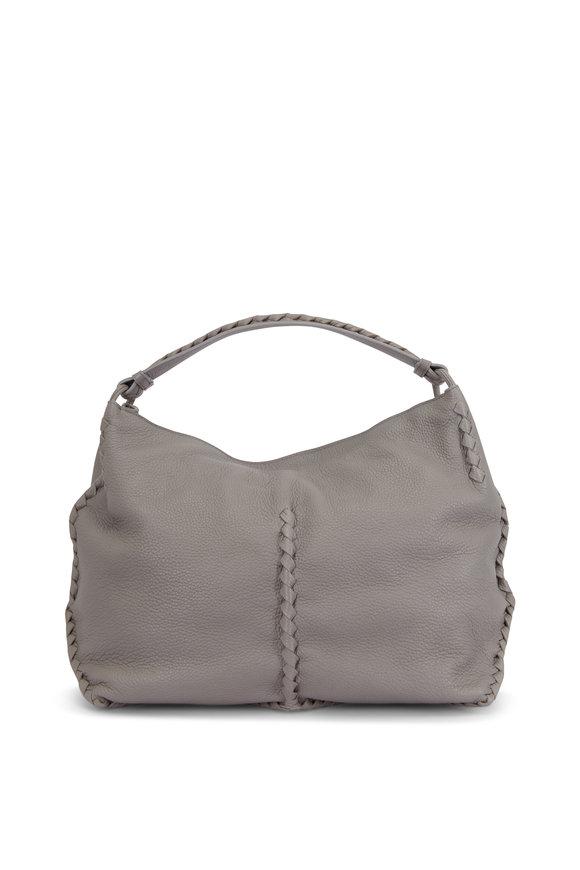 Bottega Veneta Dark Cement Leather Braided Detail Large Hobo Bag