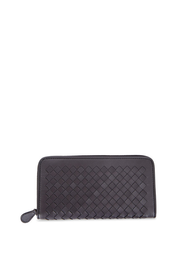 Bottega Veneta Anthracite Intrecciato Zip Around Wallet