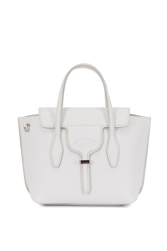 Tod's Manici Bi-Color White Leather Mini Shopping Bag