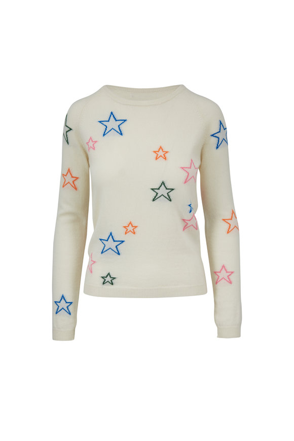 Chinti & Parker Cream 3-D Star Cashmere Sweater