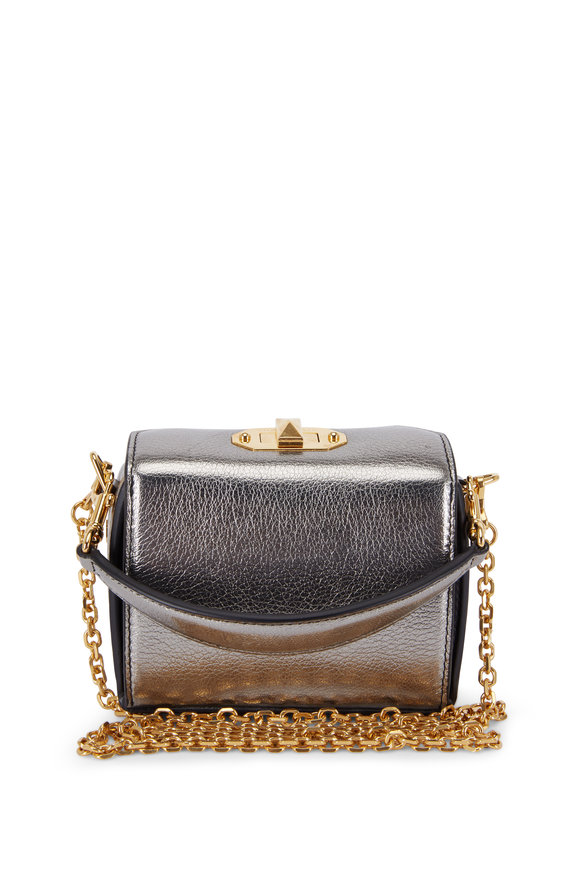 Alexander McQueen Metallic Gunmetal Leather Nano Box Bag