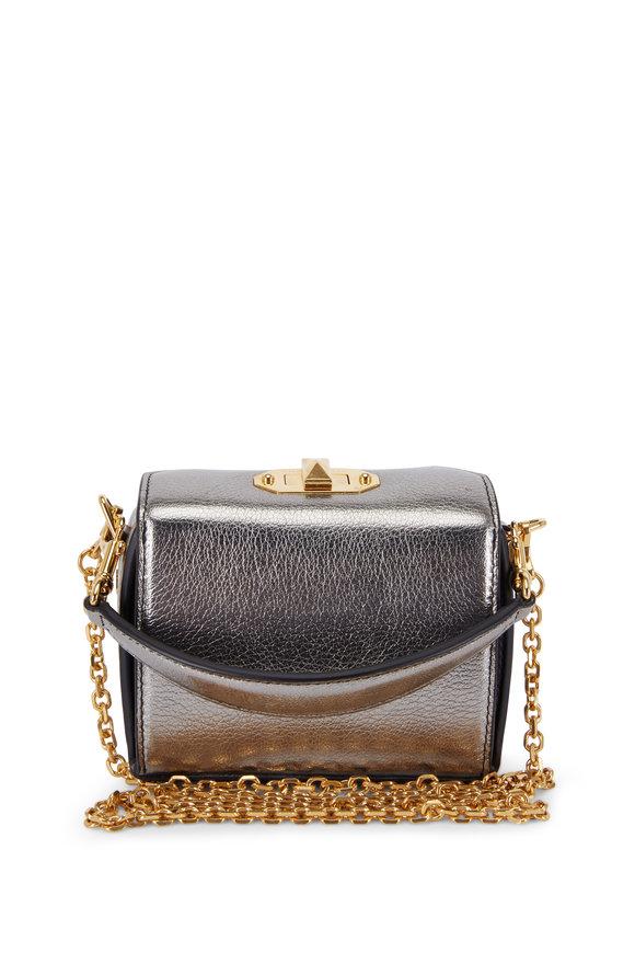 Alexander McQueen Metallic Gunmetal Leather Nano Box Bag