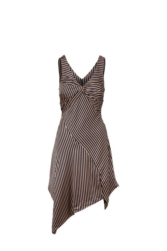 Jonathan Simkhai Midnight & Khaki Striped Midi Dress