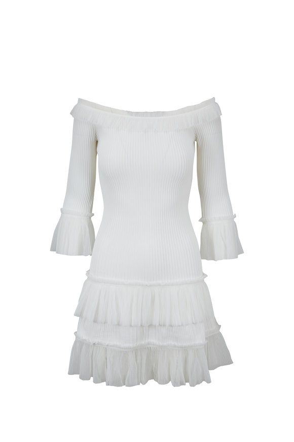 Jonathan Simkhai White Pleated Tulle Off-The-Shoulder Dress
