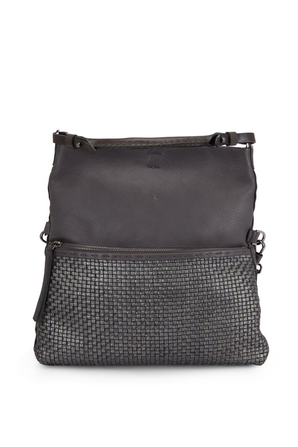 Henry Beguelin Andy Anthracite Smooth & Woven Leather Crossbody