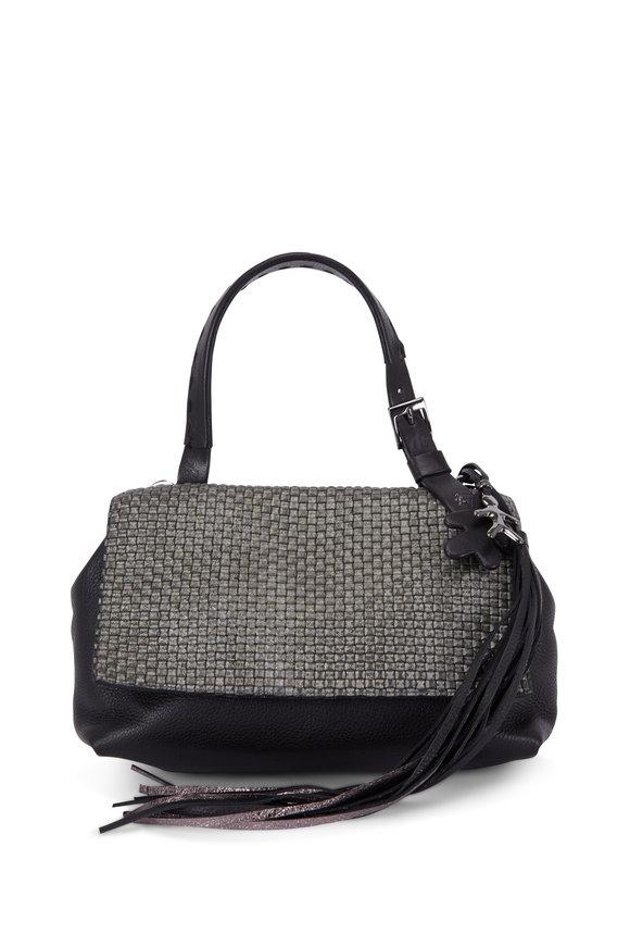 Henry Beguelin Valery Black Grained & Woven Leather Shoulder Bag