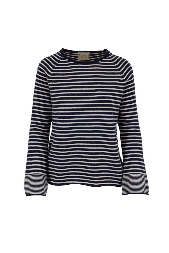 Jumper 1234 Navy Striped Cashmere Bell Cuff Sweater