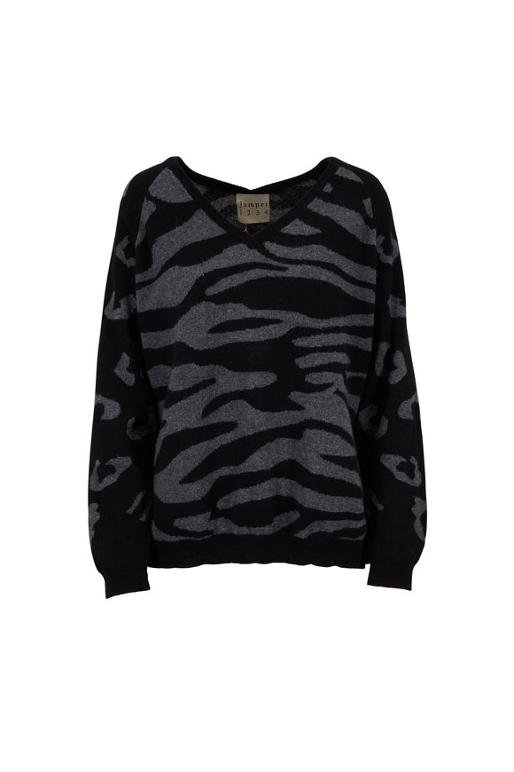 Jumper 1234 Black & Gray Cashmere Animal Intarsia Sweater