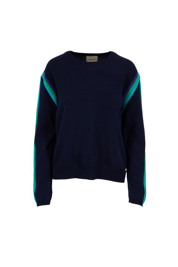 Jumper 1234 Navy Cashmere Racing Striped Crewneck Sweater