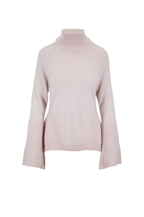 Raffi  Chalk Cashmere Mix Stitch Bell Sleeve Sweater