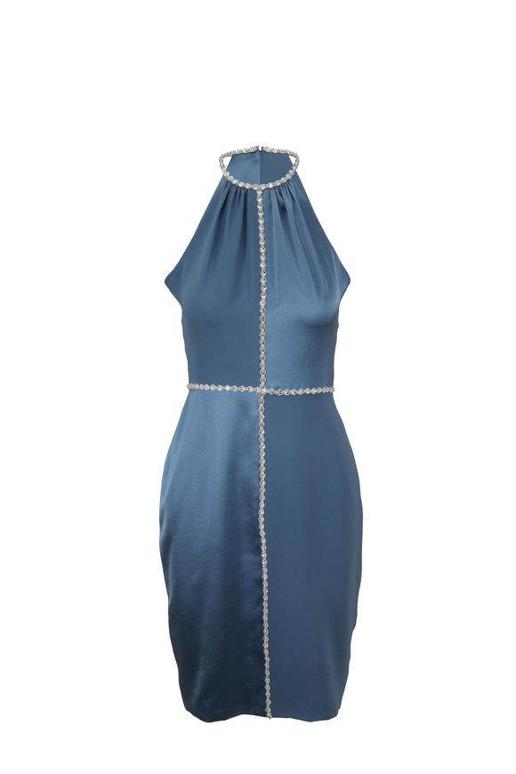 Donald Deal Light Blue Silk Georgette Halter Dress