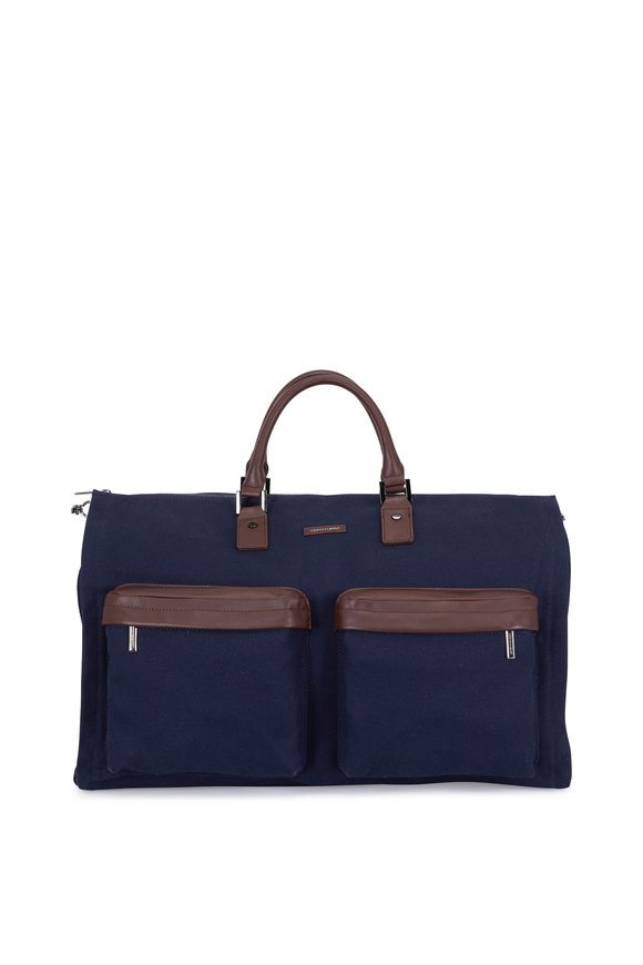 Hook + Albert Navy Blue Performance Fabric Weekender