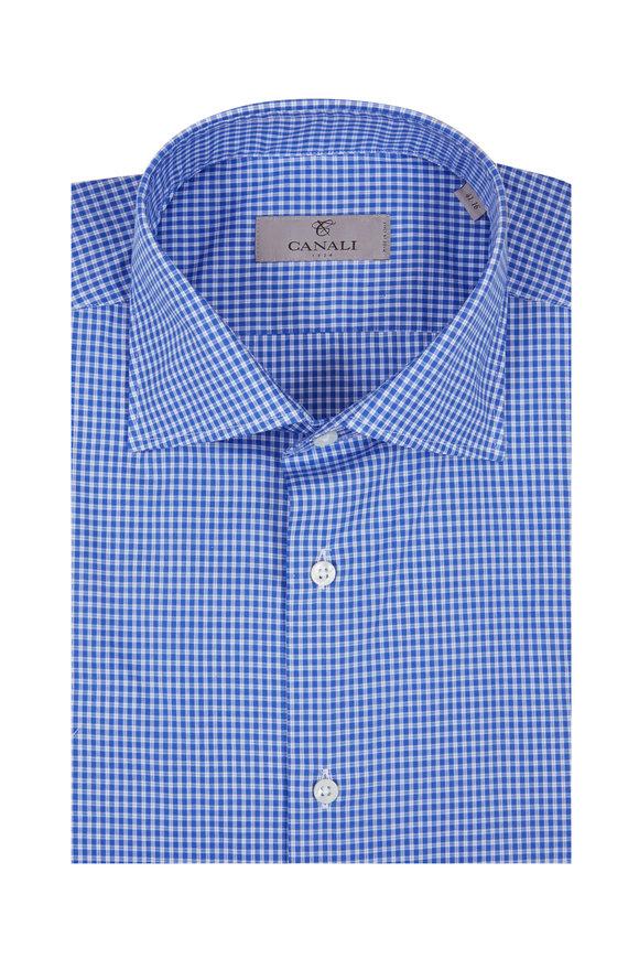Canali Blue Check Dress Shirt