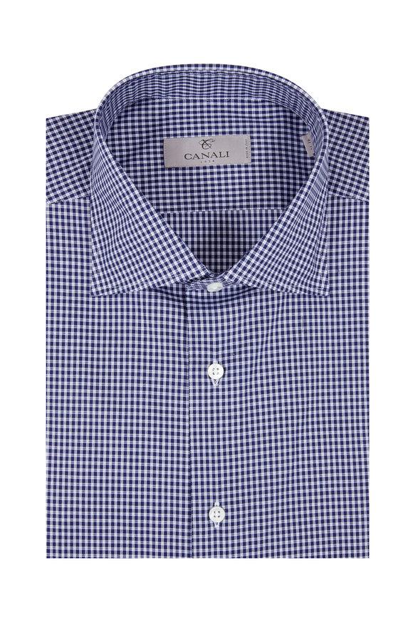 Canali Navy Blue Check Dress Shirt
