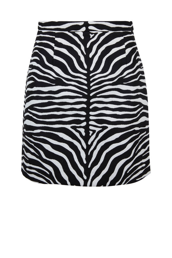 Michael Kors Collection Black & White Zebra Wool Jacquard Mini Skirt