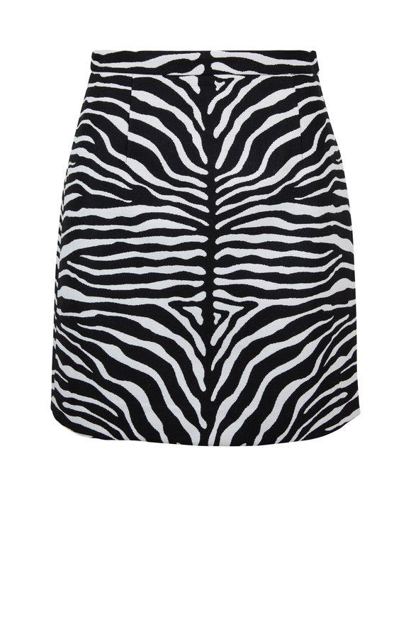 Michael Kors Collection Black & White Zebra Wool Jacquard Mini Skirt