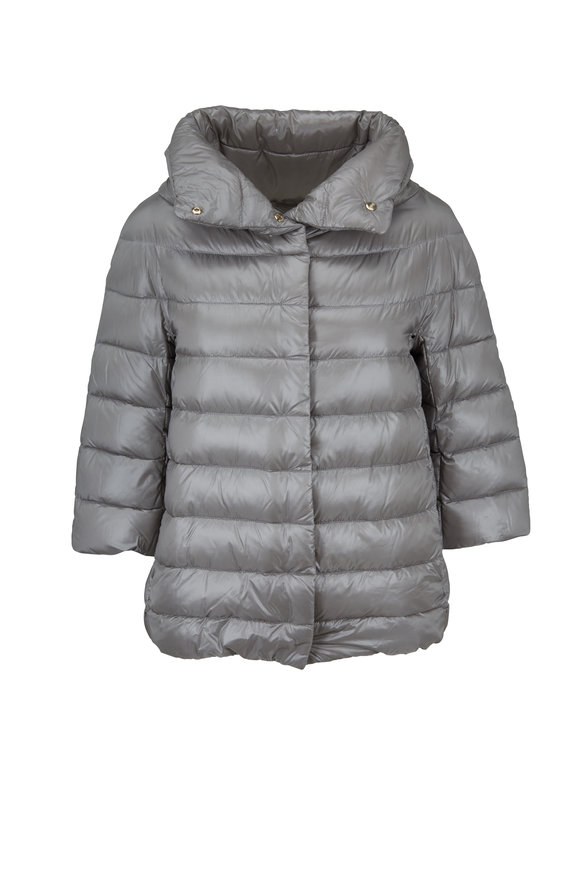 Herno Silver Three-Quarter Sleeve Puffer Jacket