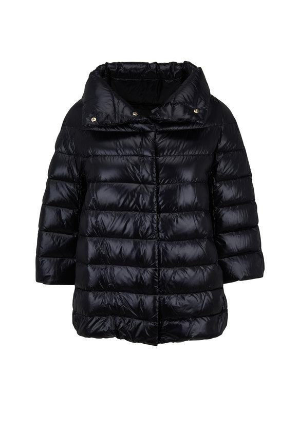 Herno Black Three-Quarter Sleeve Puffer Jacket