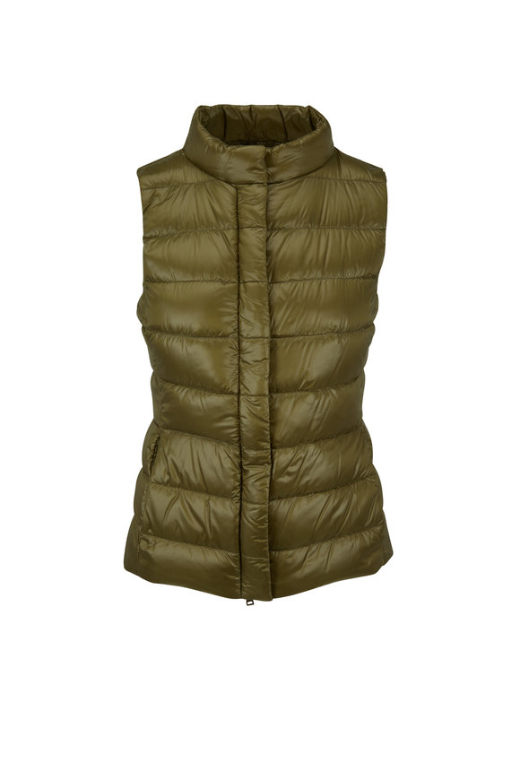 Herno Olive Green Basic Puffer Vest