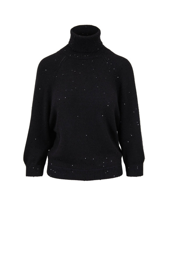 Brunello Cucinelli Black Cashmere & Silk Pailette Open Back Sweater