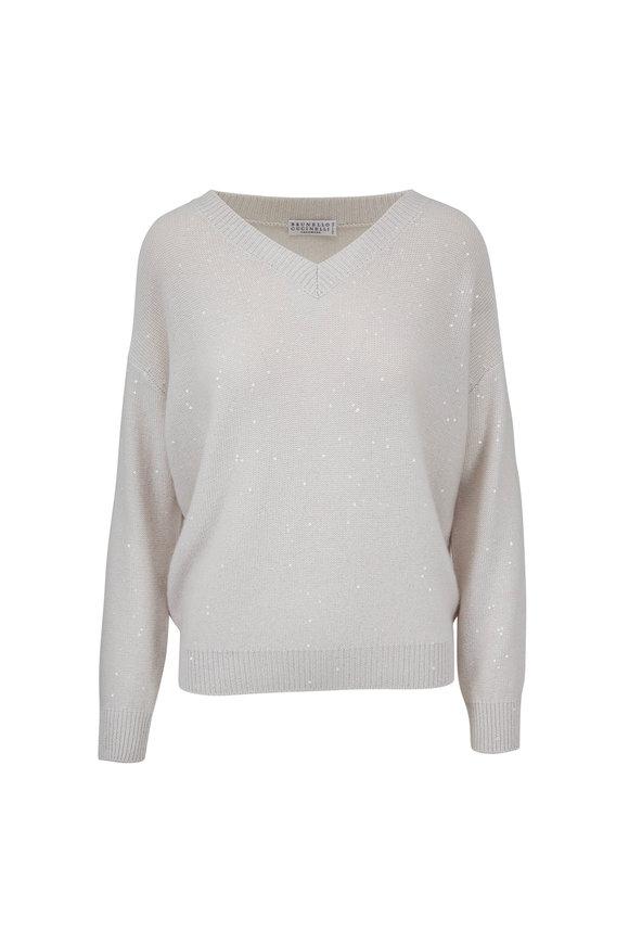 Brunello Cucinelli Vanilla Cashmere Blend Paillette Boyfriend Sweater