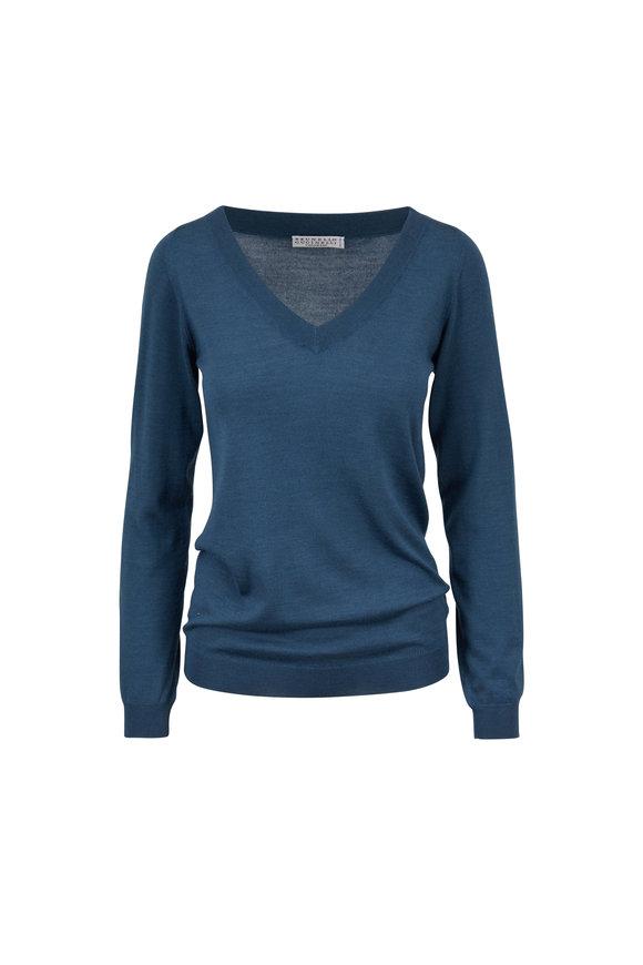 Brunello Cucinelli Dragonfly Cashmere & Silk V-Neck Sweater