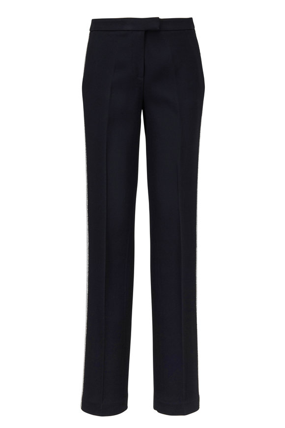 Michael Kors Collection Black Crepe-Sablé Crystal Embroidered Tuxedo Pants