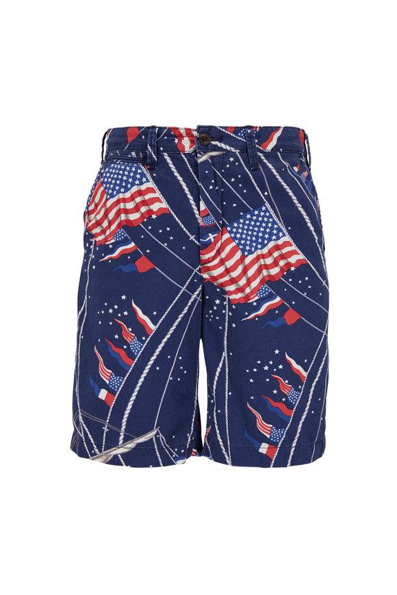 Polo Ralph Lauren Blue Cotton Flag Printed Shorts