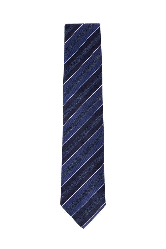 Brioni Dark Blue Striped Silk Necktie