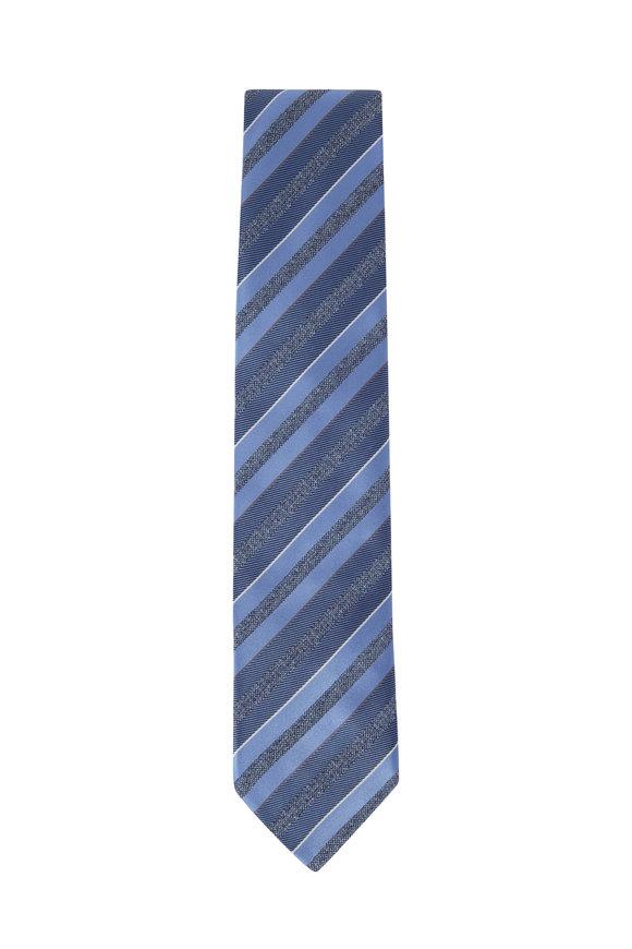 Brioni Gray Striped Silk Necktie