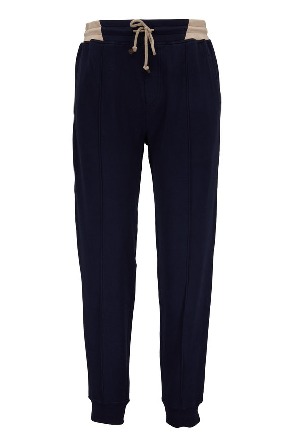 Brunello Cucinelli Navy Blue Soft Cotton Jogger