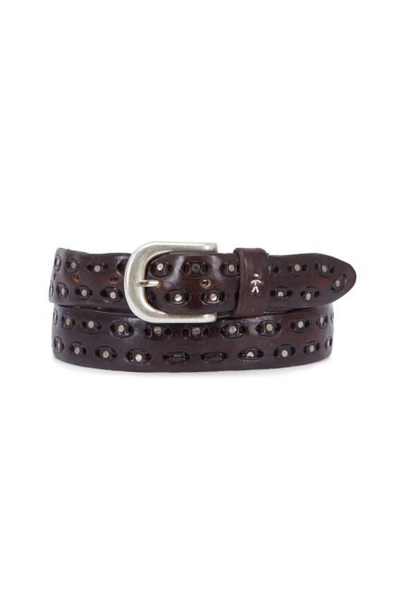 Henry Beguelin Chiodi Ebony Leather Grommet Belt