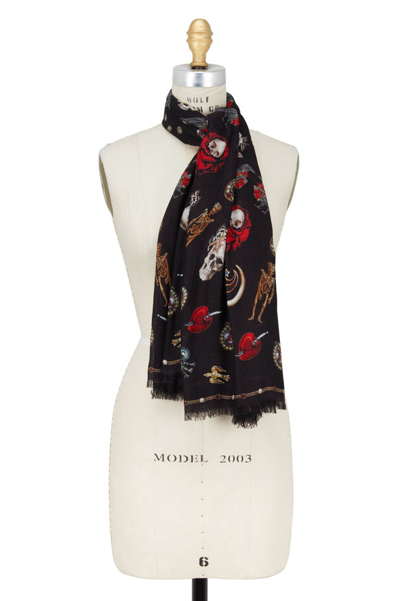 Alexander McQueen Multi Jeweled Trinket Wool Blend Scarf