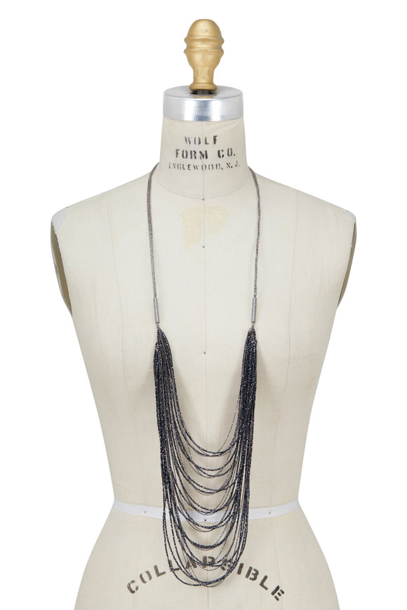 Brunello Cucinelli Spinello Silver & Black Multi-Strand Bib Necklace
